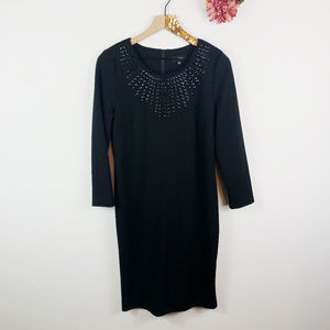 [SPENSE] Black 3/4 Sleeve Gemstone Shift Dress